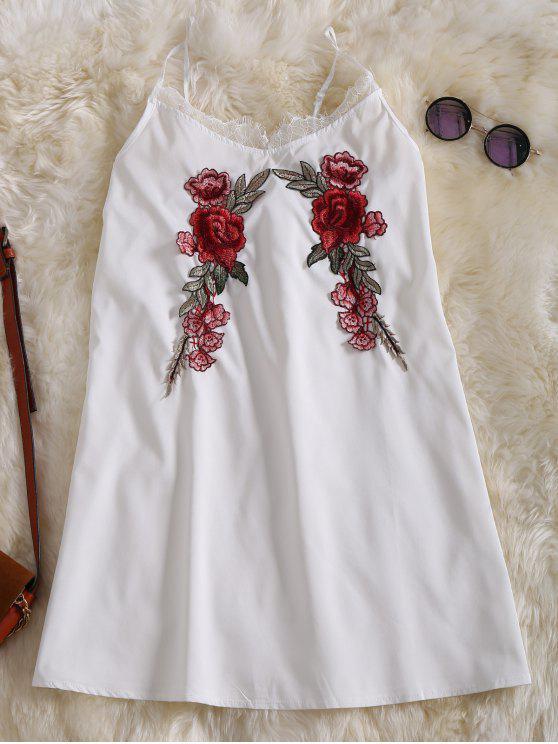 unique Slip Lace Embroidered Rose Applique Dress - WHITE S