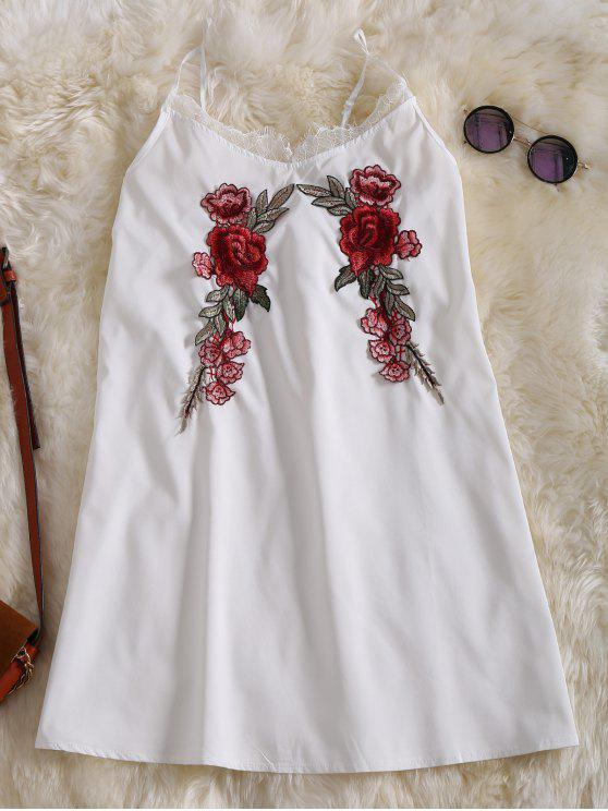 sale Slip Lace Embroidered Rose Applique Dress - WHITE M
