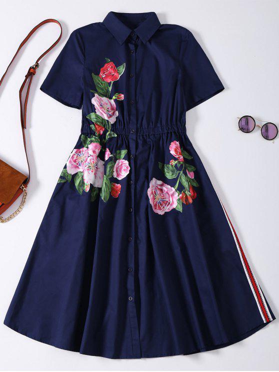 ladies Button Up Sequins Rose Shirt Dress - CADETBLUE XL