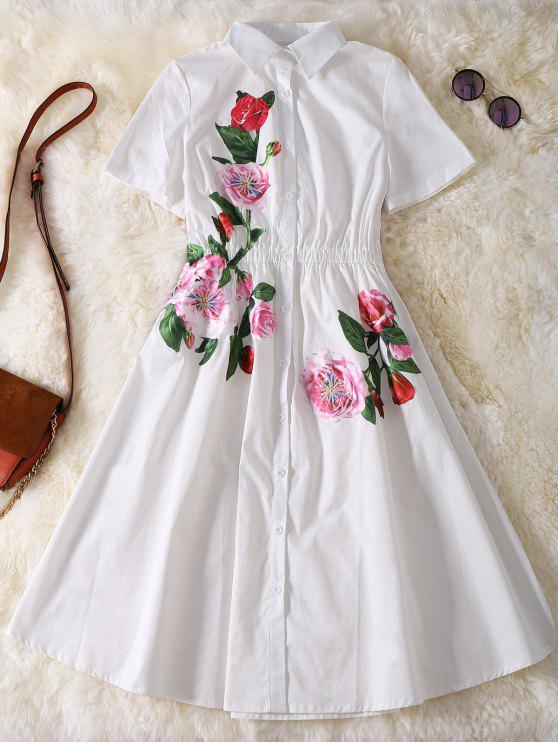 women Button Up Sequins Rose Shirt Dress - WHITE L