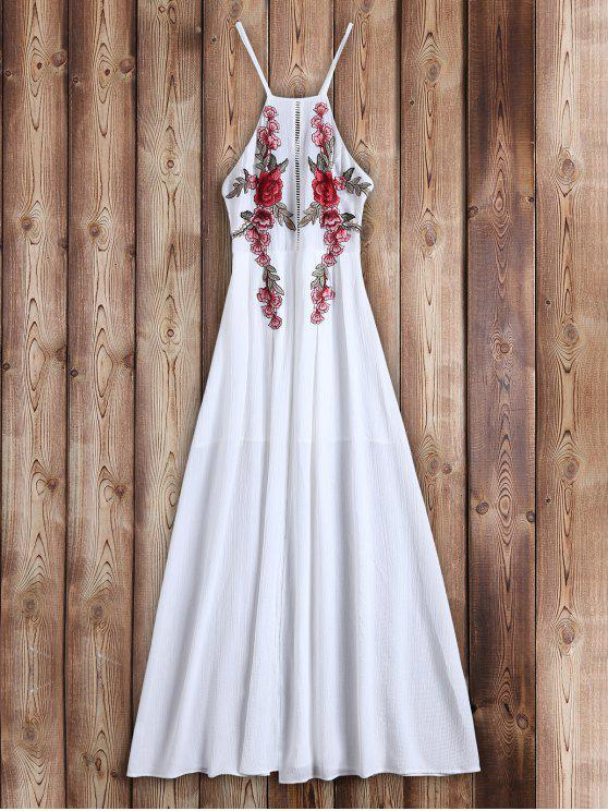 trendy Floral Patches Maxi Beach Dress - WHITE XL