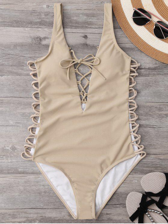 unique Lace Up Plunging Neck Swimsuit - COMPLEXION S