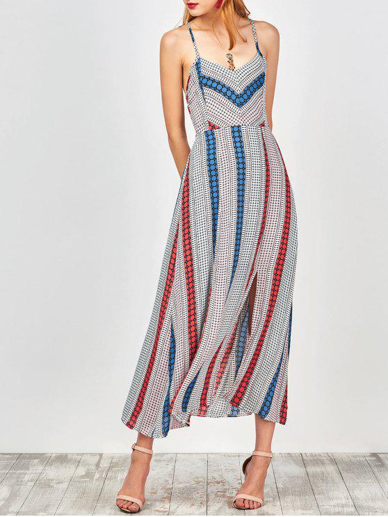 Geometry Print Slip Lace Up Robe de vacances - Multicolore M