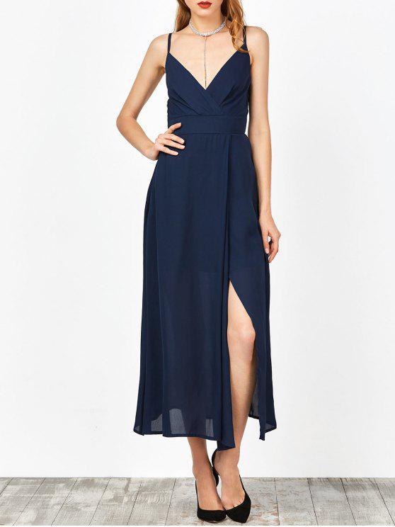Vestido de Verano con Cuello en V con Tirantes Finos con Abertura Lateral Alta - Azul Purpúreo S