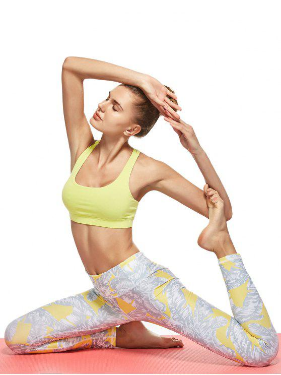 affordable Tropical Leaf Print Sports Leggings - GRAY M