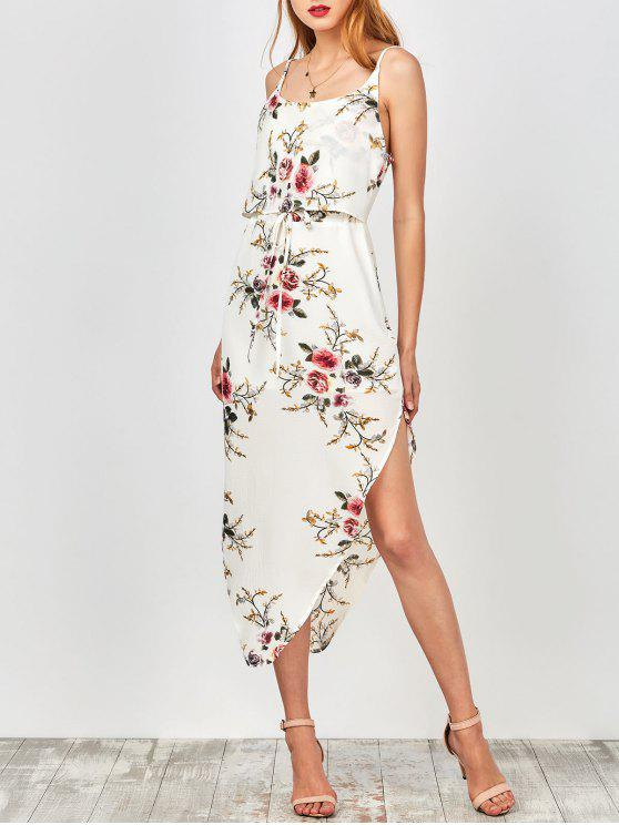 Vestido Asimétrico Floral de Vacación de Tirantes Finos con Cordón en Cintura - Blanco M