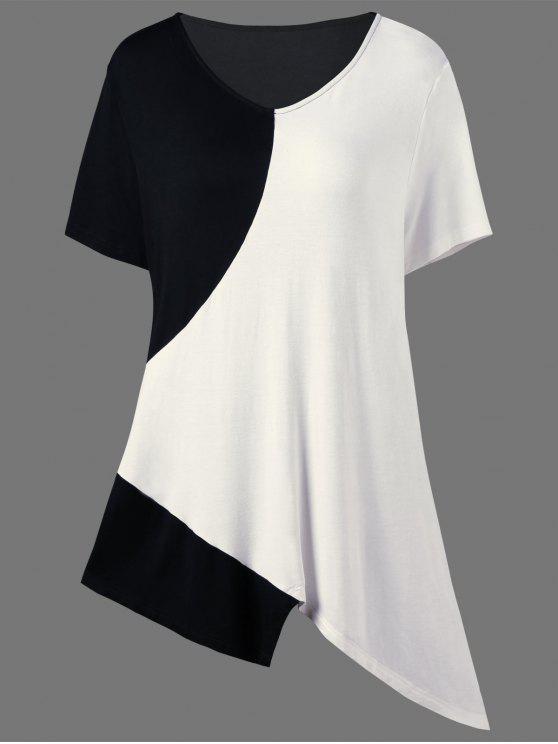 T-Shirt Asimmetrica Lunga Plus Size A Blocchi Di Colore - Bianco e Nero 2XL