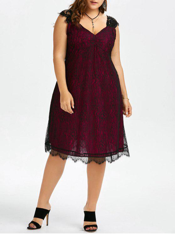 Plus Size Eyelash Lace Retro Party Dress Wine Red Plus Size Dresses