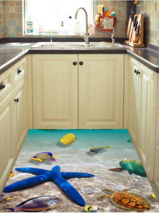 3D Beach Starfish Floor Sticker For Home Decor LAKE BLUE: Wall Art ...