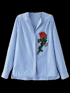 Patché Haut Bas Shirt - Rayure S