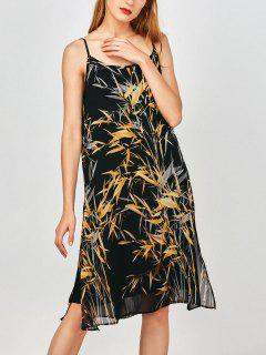 Slip Print Side Slit Chiffon Holiday Dress - Earthy Xl