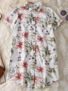 Bouton Floral Shirt Up Tunique En Lin - Vert Clair M