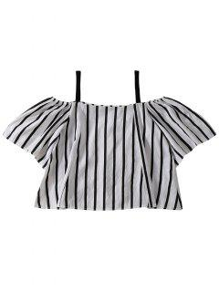 Slip Cold Shoulder Striped Blouse - Black