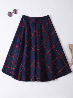 A Line Midi Plaid Skirt - Purplish Blue S