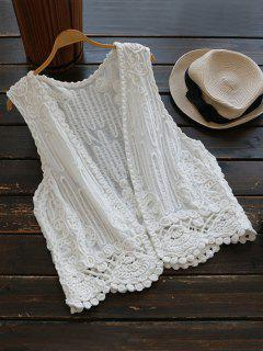 Open Front Crochet Design Vest Top - White