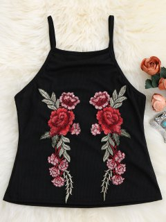 Floral Patch Ribbed Tank Top - Black Xl