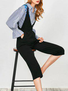 Cami Plunge Wide Leg Capri Jumpsuit - Black L