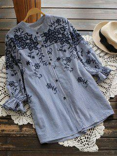Embroidered Puff Sleeve Striped Shirt - Blue Stripe L