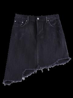 Asymmetric Frayed Hem Denim Skirt - Black L