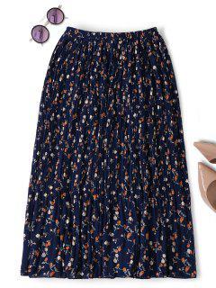 Midi Tiny Floral Pleated Skirt - Purplish Blue