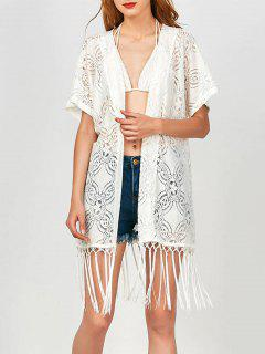 Fringed  Lace Kimono Wrap Dress - White L