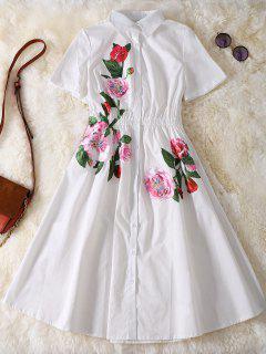 Button Up Sequins Rose Shirt Dress - White Xl