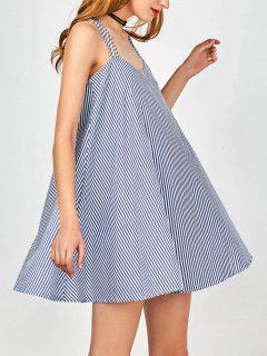 Multi Straps Striped Trapeze Dress - Blue And White M