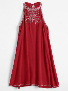 Embroidered Sleeveless Flowing Dress - Red M