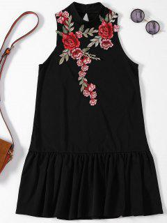Rose Applique Backless Ruffle Hem Dress - Black S