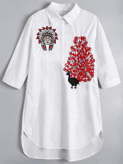 Peacock Embroidered High Low Shirt Dress - White M