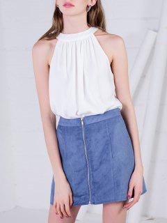 Back Tie Cut Out Bodysuit - White L