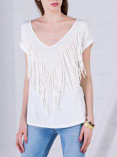 Curled Sleeve Fringed Top - White S