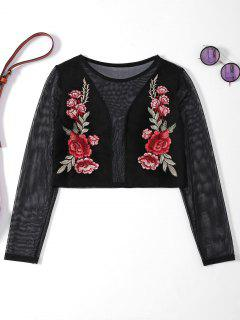 Sheer Mesh Floral Embroidered Crop Top - Black M