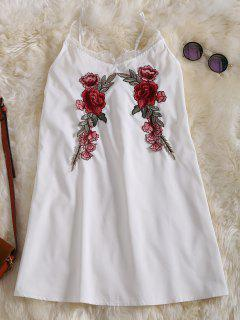 Slip Lace Embroidered Rose Applique Dress - White L