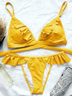 Bikini à Bretelle à Volants Bas Levé - Jaune M