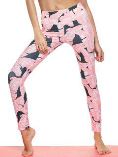 Tropical Leaf Print Sports Leggings - Pink L