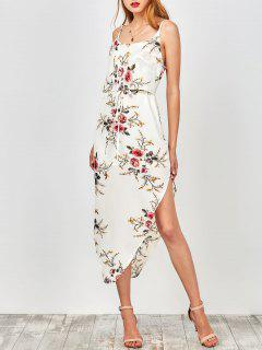 Slip Floral Drawstring Waist Asymmetric Holiday Dress - White L