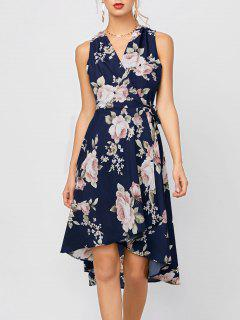 High Low Floral Sleeveless Dress - Deep Blue M