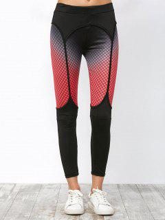 Elastic Workout Leggings With Fishnet Print - Black M