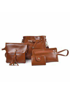 Faux Leather 4 Pieces Crossbody Bag Set - Brown