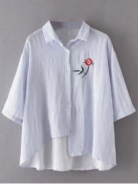 trendy Stripes Asymmetrical Shirt - BLUE ONE SIZE Mobile