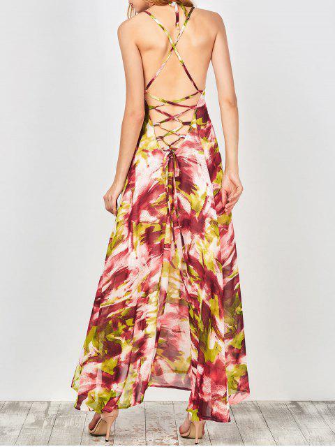 shop Printed Lace Up Beach Summer Chiffon Dress - COLORMIX L Mobile