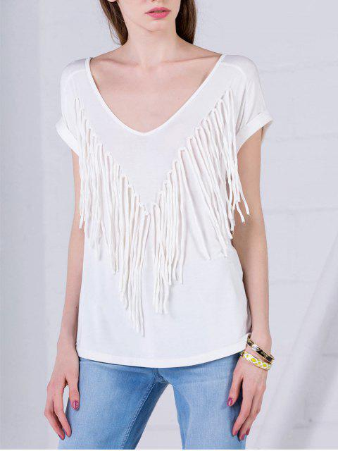fashion Curled Sleeve Fringed Top - WHITE L Mobile
