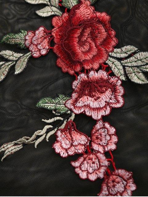 ladies Floral Patch Sheer Mesh Bodysuit - BLACK M Mobile