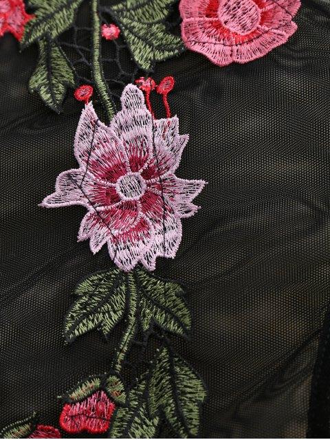 hot Sheer Mesh Floral Applique Bodysuit - BLACK S Mobile