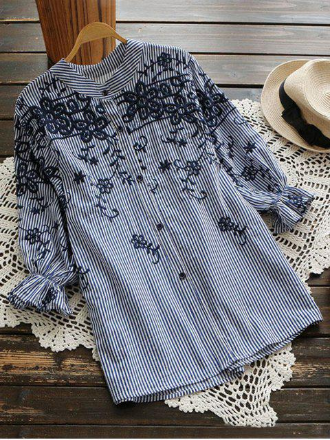 affordable Embroidered Puff Sleeve Striped Shirt - BLUE STRIPE L Mobile