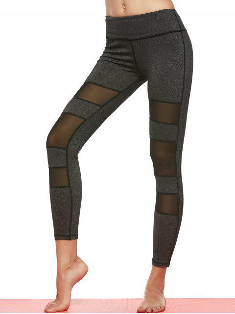 affordable Geometric Mesh Panel Sheer Sports Leggings - DEEP GRAY L Mobile