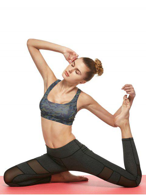 buy Geometric Mesh Panel Sheer Sports Leggings - DEEP GRAY M Mobile