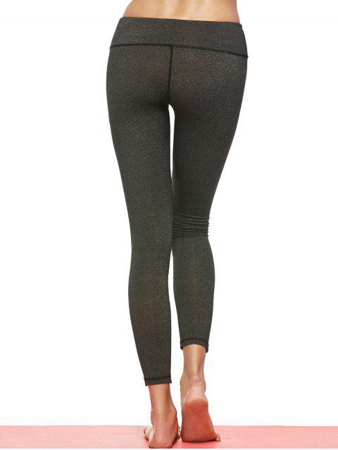 womens Geometric Mesh Panel Sheer Sports Leggings - DEEP GRAY S Mobile