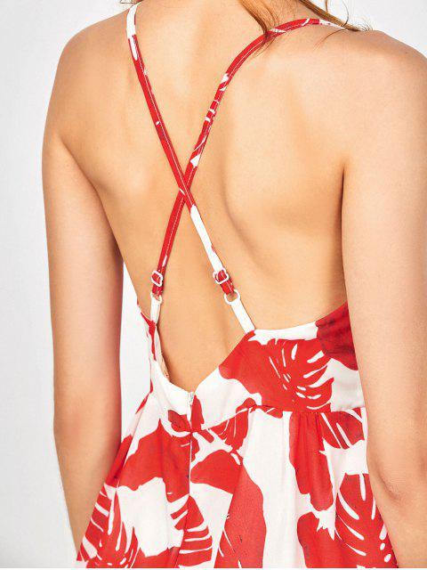 combinaison imprimé à motif tropical à jambes vastes surplis - Rouge S Mobile